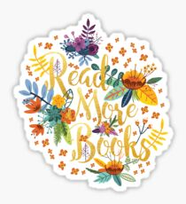 Read More Books - Floral Gold Sticker