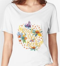 Read More Books - Floral Gold - Black Women's Relaxed Fit T-Shirt