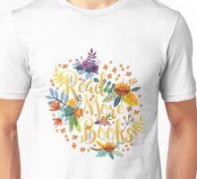 Read More Books - Floral Gold - Black Unisex T-Shirt