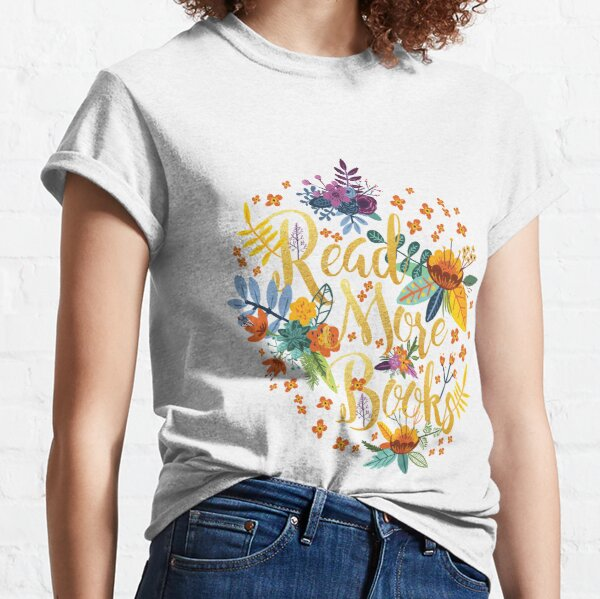 Read More Books - Floral Gold - Black Classic T-Shirt