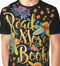 Read More Books - Floral Gold - Black Graphic T-Shirt