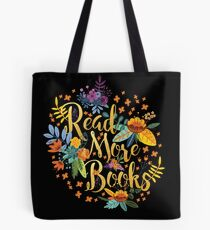 Read More Books - Floral Gold - Black Tote Bag