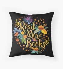 Read More Books - Floral Gold - Black Throw Pillow