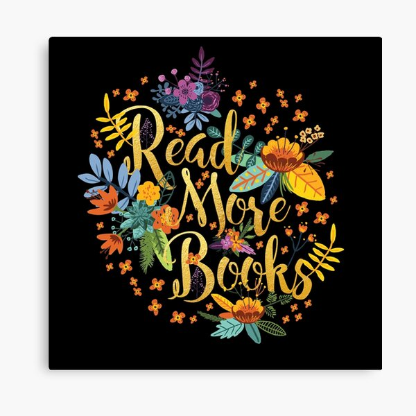 Read More Books - Floral Gold - Black Canvas Print