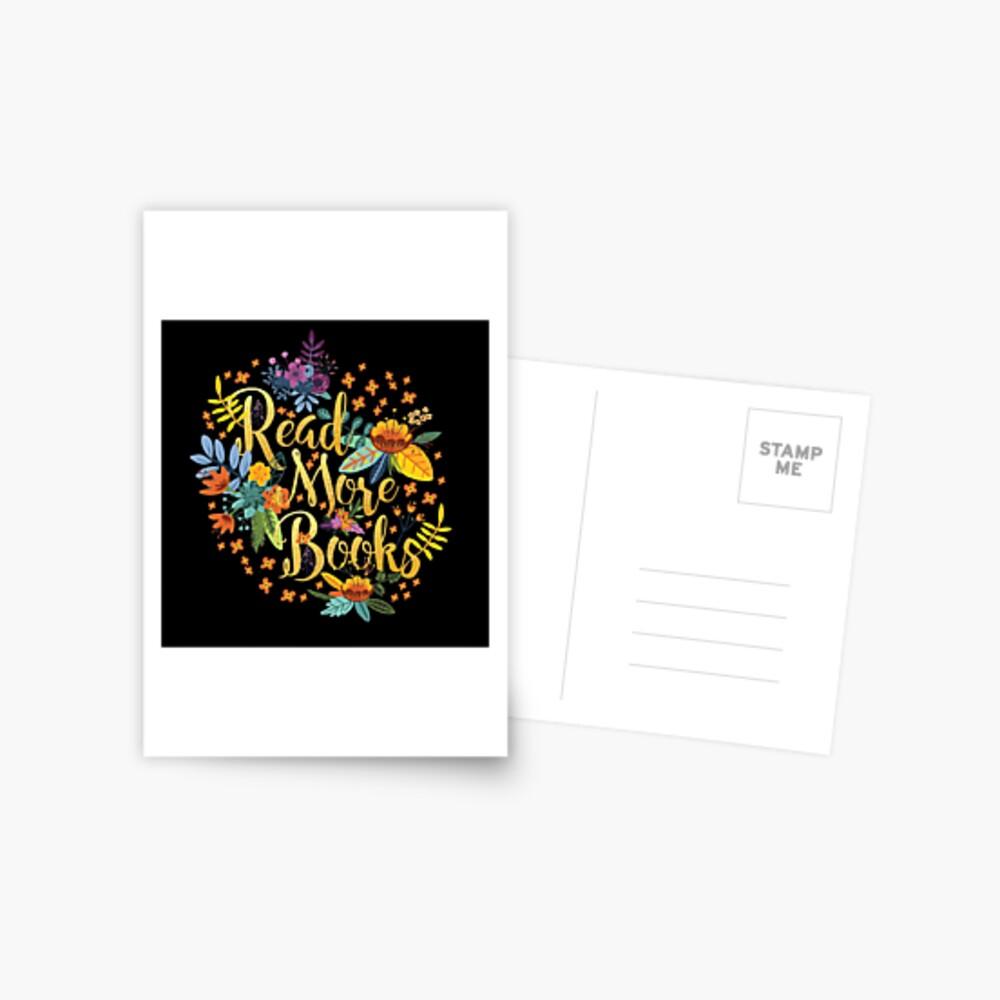 Lesen Sie mehr Bücher - Floral Gold - Schwarz Postkarte