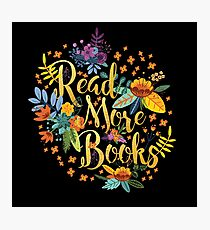 Read More Books - Floral Gold - Black Photographic Print