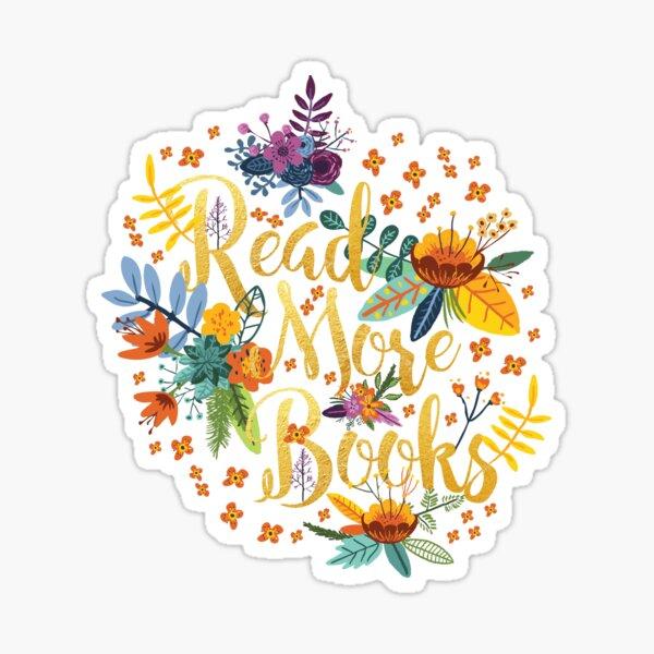Read More Books - Floral Gold - Black Sticker