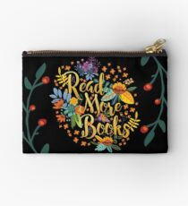 Read More Books - Floral Gold - Black Studio Pouch