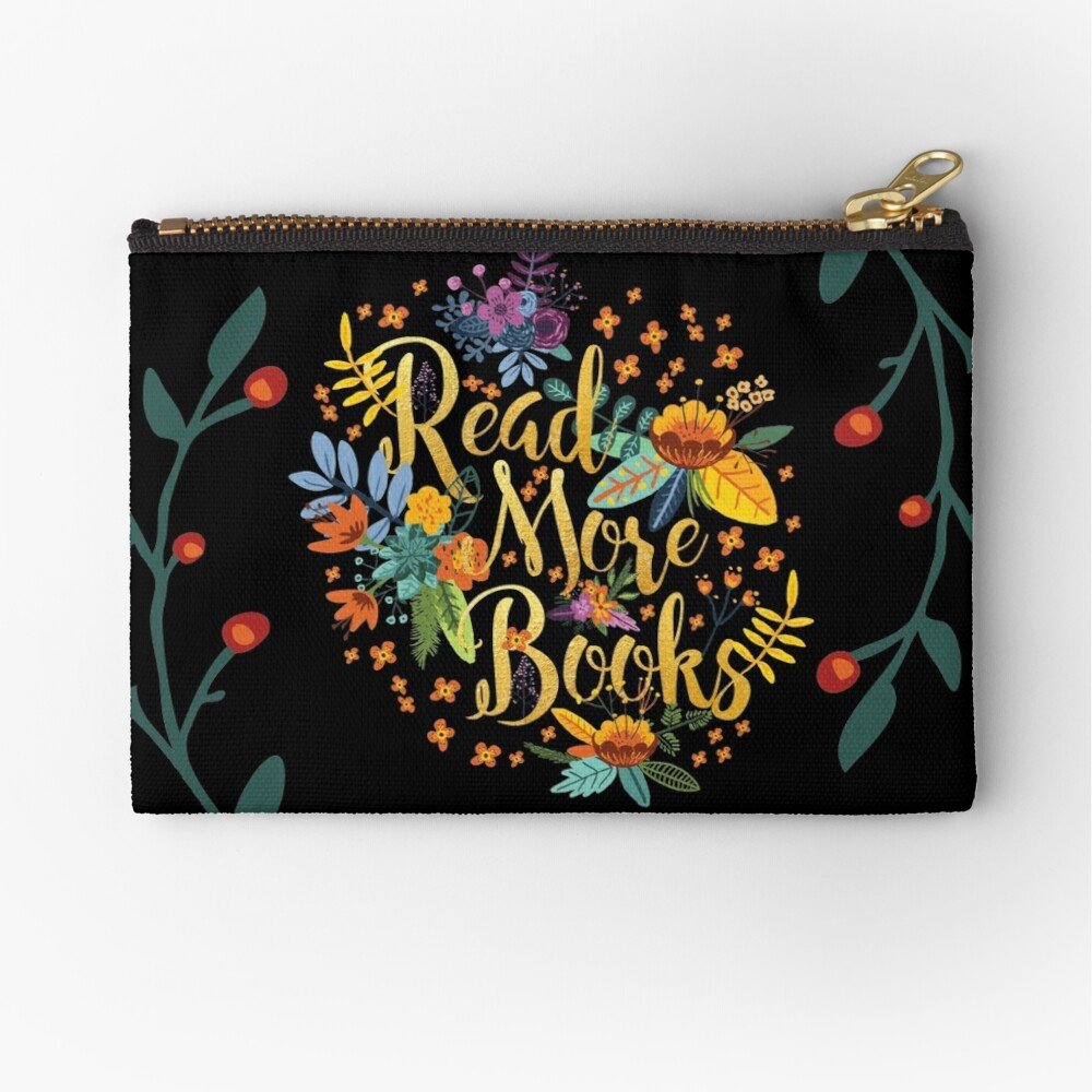 Read More Books - Floral Gold - Black Zipper Pouch