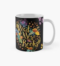 Read More Books - Floral Gold - Black Mug