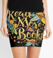 Read More Books - Floral Gold - Black Mini Skirt