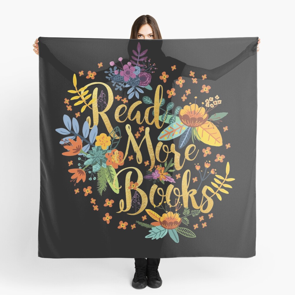 Read More Books - Floral Gold - Black Scarf
