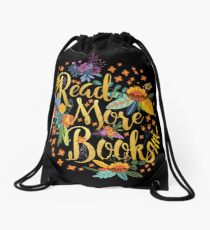 Read More Books - Floral Gold - Black Drawstring Bag