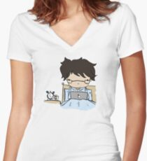 Q In Pyjamas (without text) Women's Fitted V-Neck T-Shirt