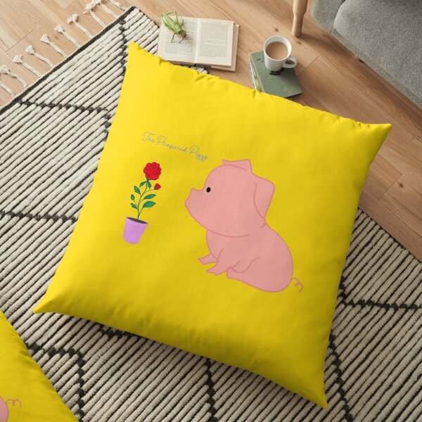 The Pampered Piggy Loves to smell the roses Floor Pillow