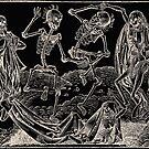 Totentanz / Dance of macabre - white print by Bela-Manson