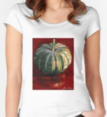 pumpkin on red background Women's Fitted Scoop T-Shirt
