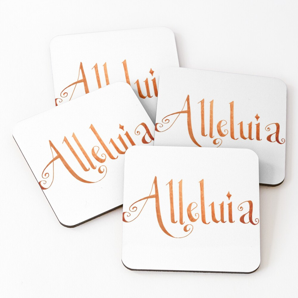 Alleluia Hand-Lettered Calligraphy Christian Rejoice Coasters (Set of 4)