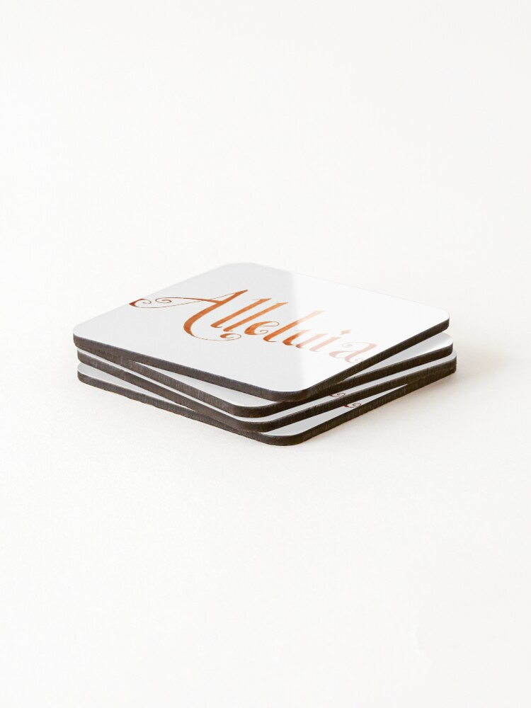 Alternate view of Alleluia Hand-Lettered Calligraphy Christian Rejoice Coasters (Set of 4)