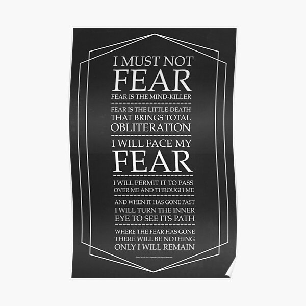Fear Is The Mind Killer, Dune Litany Poster