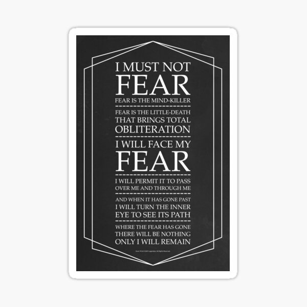 Fear Is The Mind Killer, Dune Litany Sticker