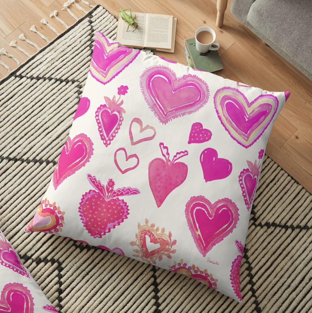Pink Herze Bodenkissen