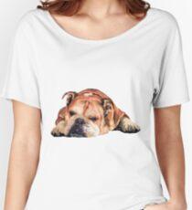 Sleeping English Bulldog Graphic Women's Relaxed Fit T-Shirt