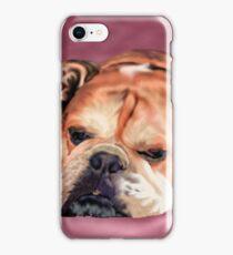 Sleeping English Bulldog with Background iPhone Case/Skin
