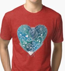 White Inked Floral Blue Heart Tri-blend T-Shirt