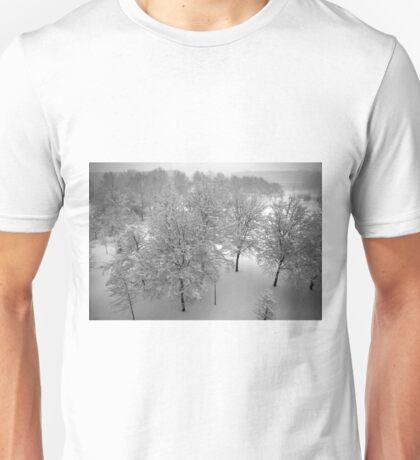 Looking down on snowy trees T-Shirt