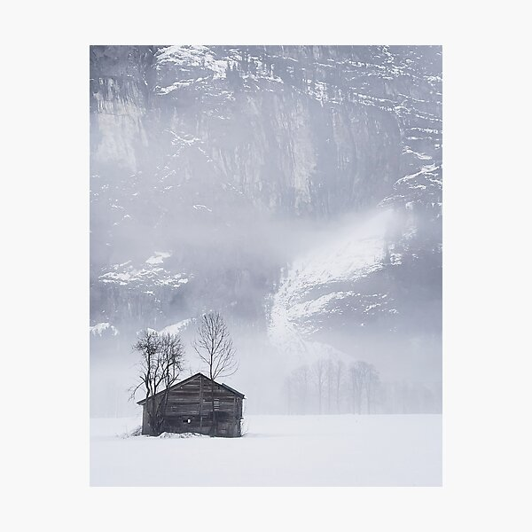 Snow and mist in the Lauterbrunnen Valley Photographic Print