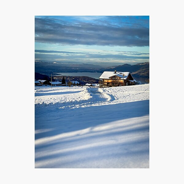House at Aeschiried with a view to Thun Photographic Print