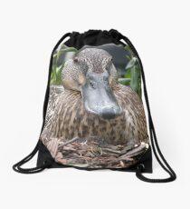 Nesting Duck, Baltimore Inner Harbour Drawstring Bag