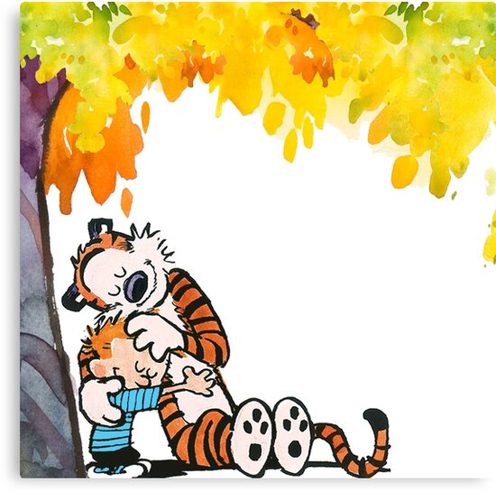 Calvin and Hobbes Under Tree\