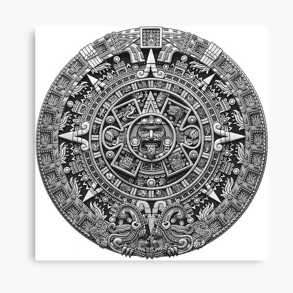 Aztec Calendar Sun Stone - Greyscale Canvas Print