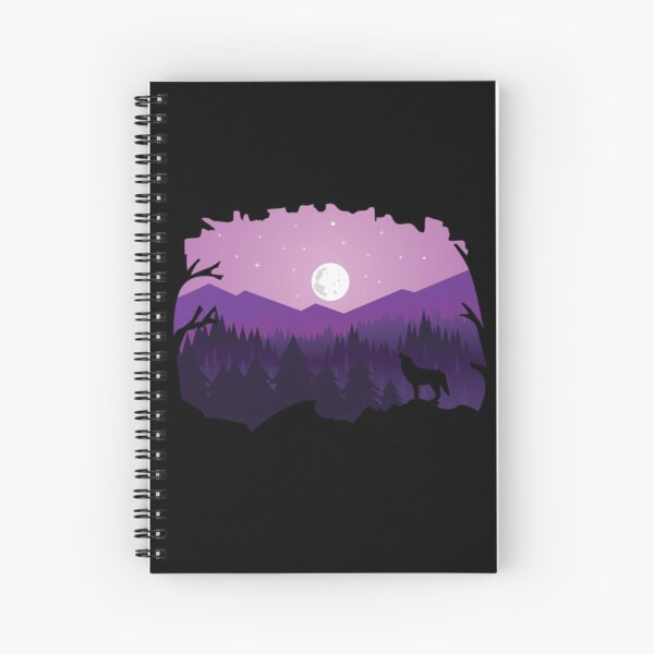 Wolf Silhouette with Mountains, Moon and Stars Spiral Notebook