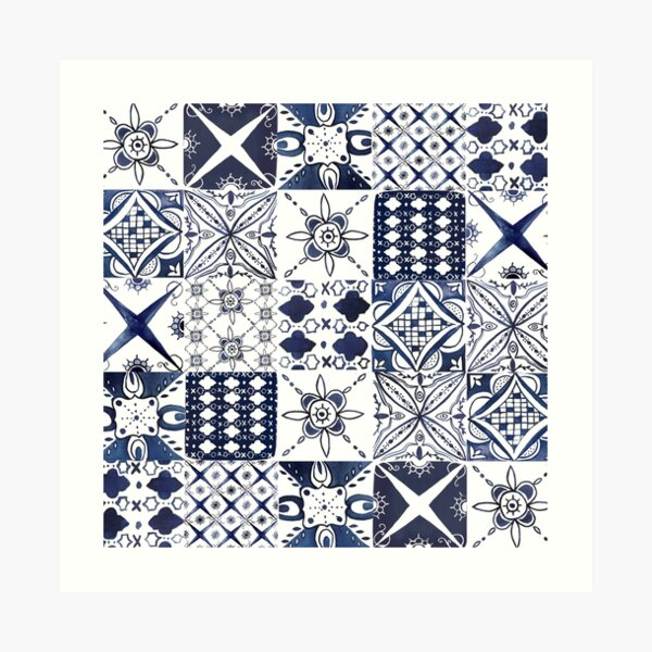 Watercolor Morrocan Tile Pattern Art Print