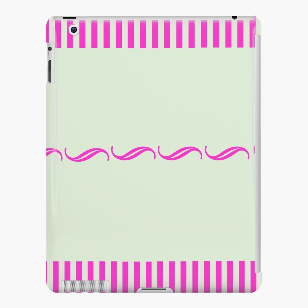 Pink Print with pale green iPad Case & Skin