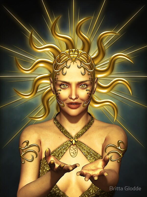 Quot Golden Sun Goddess Quot By Britta Glodde Redbubble