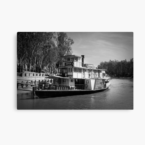 PS Emmylou. Paddlesteamers of Australia. Murray River. Black and White Canvas Print
