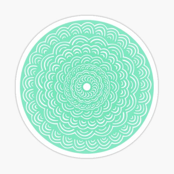 Spiral Floral Mandala Maze Pattern Design (Round Circle Sticker!) // Bright Green Blue Seafoam Color Sticker