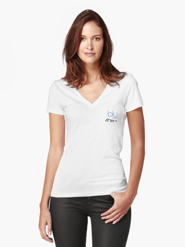 BLU Logo (full color) Women's Fitted V-Neck T-Shirt Front