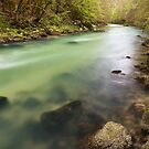 Dusk light on Valserine river by Patrick Morand