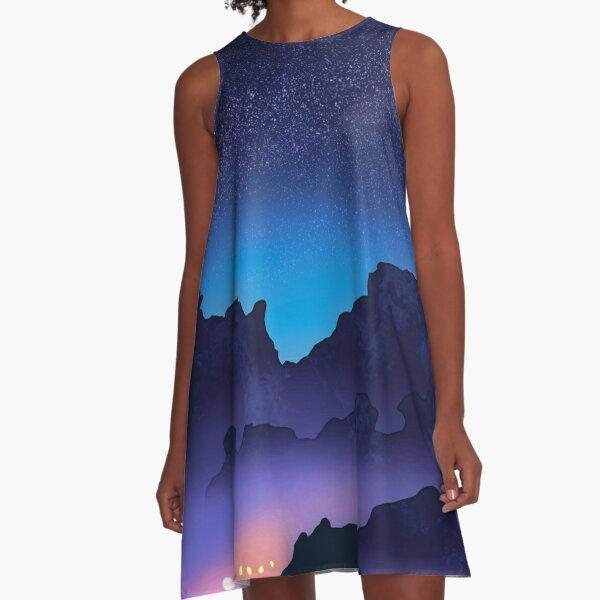 Mountain Magic Beneath the Milky Way A-Line Dress
