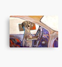 Dog Driving Canvas Print