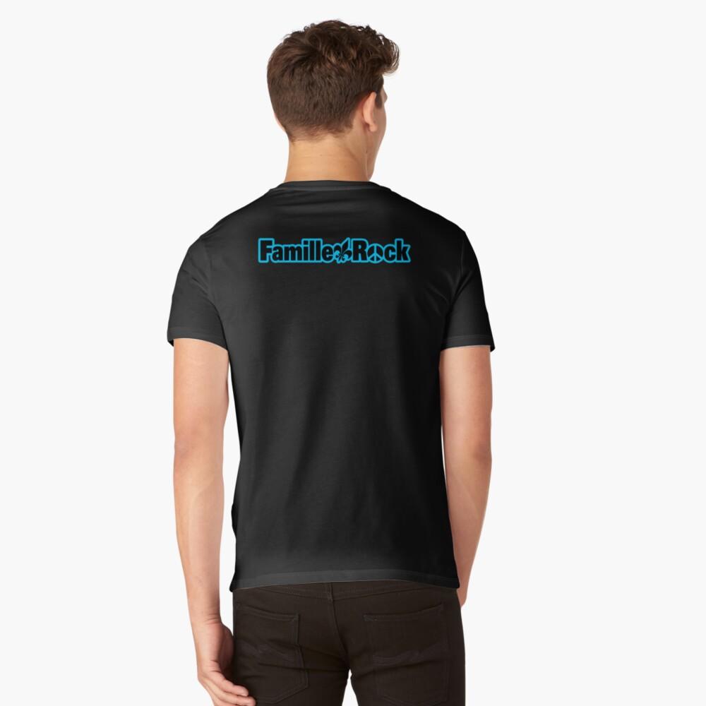 T-shirt col V «Articles Famillerock Édition Bleu»