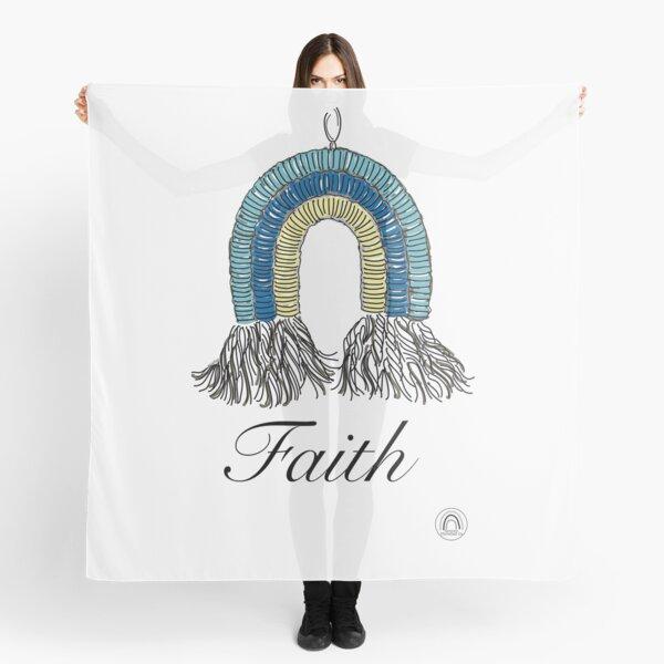 Faith #1 - a Macrame Rainbow Wall Hanging Illustration - Christian Faith Based Art Scarf