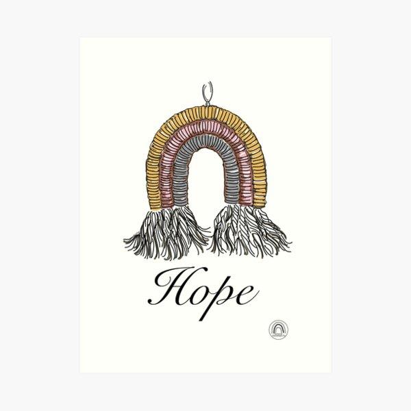 Hope #1 - a Macrame Rainbow Wall Hanging Illustration - Christian Faith Based Art Art Print