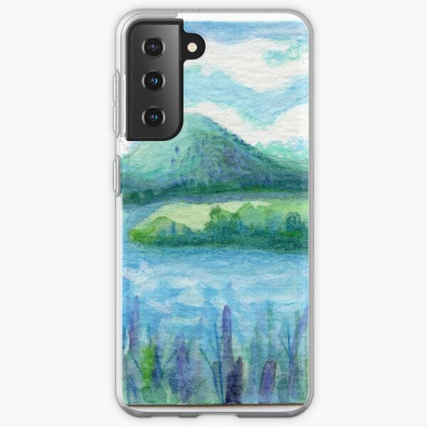 Lake Water, River and Boat,  Sky Clouds and Mountain, Serene Watercolor, mini artwork Samsung Galaxy Soft Case