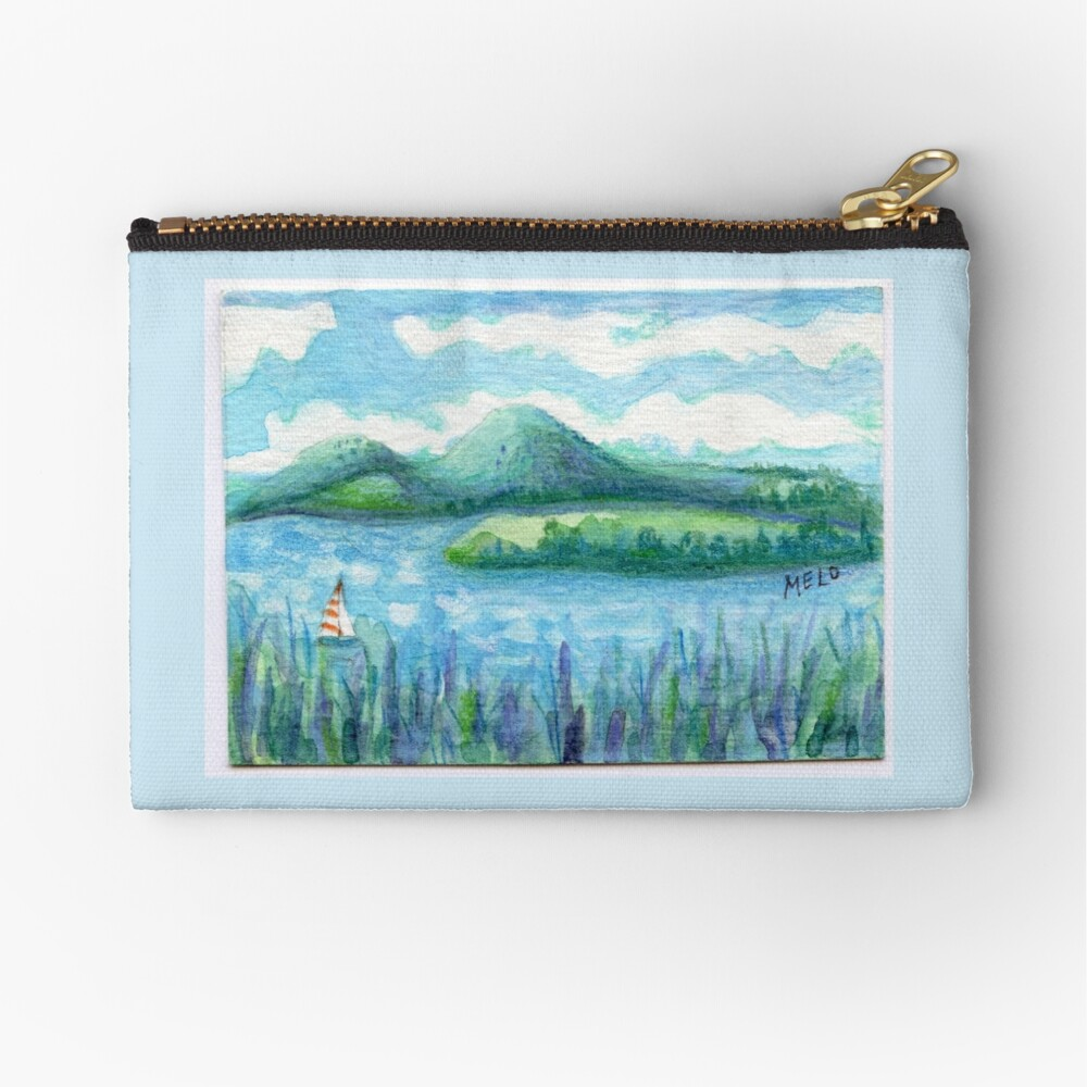 Lake Water, River and Boat,  Sky Clouds and Mountain, Serene Watercolor, mini artwork Zipper Pouch